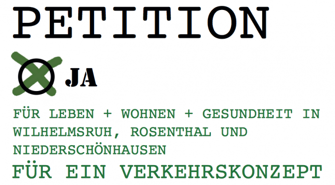 Petition für neue Verkehrskonzepte und gegen Schwerlastverkehr in Wohngebieten